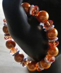 bracelet, perles, transparentes, orange, rondes